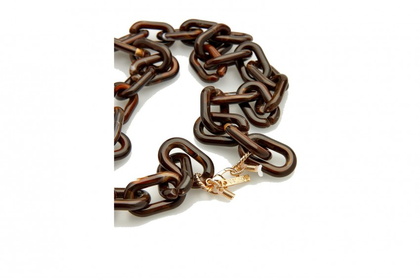 KALEOS SQUARE RESIN CHAIN DARK BROWN